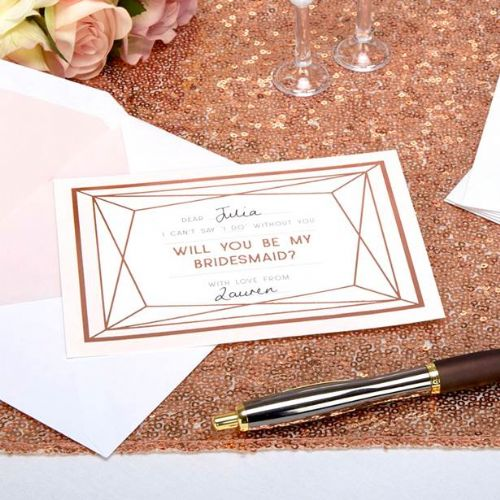 Geo Blush 'Will You Be My Bridesmaid' Cards (3pk)